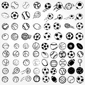 Set Ball sports icons symbols comic illustration
