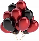 Party balloons decoration of birthday deep red and black