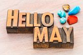 Hello May in vintage letterpress wood type with colorful gemstone crystals poster