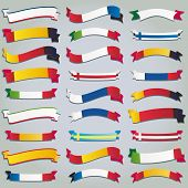Vector set ribbons flags europe