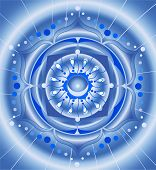 Abstract Blue patroon, Mandala van Vishuddha Chakra Vector