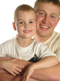 stock photo of father child  - faces father with son smile isolated - JPG