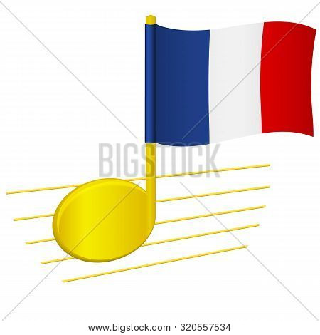 poster of France Flag And Musical Note. Music Background. National Flag Of France And Music Festival Concept V