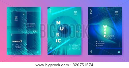 poster of Electronic Background. Audio Raund. Vibrant Design Posters. Neon Flyer Dj. Vibrant Gradient Banner.