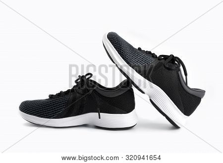 poster of Sport Shoes Isolated On White Background. Black Sneakers Running Shoes. Casual Shoes. Youth Style. S