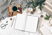 Christmas, Winter Composition. Blank Greeting Card, Open Diary, Sketch Book Mock-up Scene. Cup Of Co poster