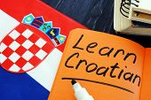 Learn Croatian Language Sign And National Flag. poster