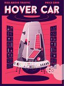 Hover Car Flat Vector Poster Template. Vector Cartoon Illustration poster