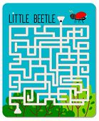 Kid Maze Game. Little Beetle Labyrinth For Kids, Children Mazes Games Sheet For Learning To Find Way poster