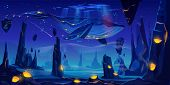 Fantasy Dream, Space Fairy Tale Background With Huge Whale Flying In Night Neon Sky Over Phantasmago poster