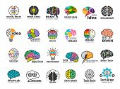 Brain Logo. Genius And Technology Smart Mind Business Concept Identity Vector Colored Symbols. Illus poster
