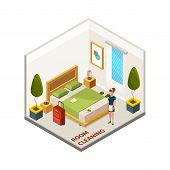 Hotel Room Cleaning. Isometric Cleaning Service, Vector Maid In Hotel Room. Hotel Room Isometry, Cle poster