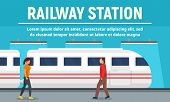 Railway Station Concept Banner. Flat Illustration Of Railway Station Vector Concept Banner For Web D poster