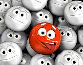 Cara de graciosos emoticon mostrando la lengua entre otras caras gris, neutrales, indiferentes