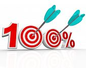 The number 100 percent with arrows shooting into the bulls-eye targets representing success in achieving your total goal, with perfection, aim, totality, full potential