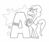 Letter A And Funny Cartoon Unicorn. Animals Alphabet A-z. Coloring Page. Printable Worksheet. Handwr poster