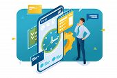 Businessman Engaged In Time Management Using The Application On The Smartphone. Time Management Conc poster