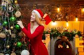 Decorating Christmas Tree At Home. Woman In Christmas Dress Decorating Christmas Tree With Baubles.  poster