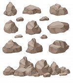 Rock Stones. Cartoon Stone Isometric Set. Granite Boulders Pile, Natural Building Block Materials. 3 poster