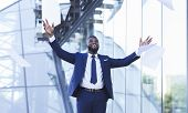 African American Businessman Celebrating Business Success Throwing Papers And Documents In The Air I poster