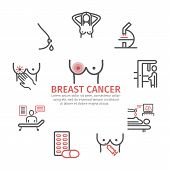 Breast Cancer Banner. Symptoms, Causes, Treatment. Line Icons Set poster