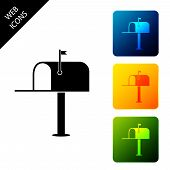 Open Mail Box Icon Isolated. Mailbox Icon. Mail Postbox On Pole With Flag. Set Icons Colorful Square poster