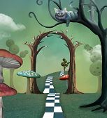 Wonderland Series - Surreal Countryside View With A Secret  Passage And Cheshire Cat - 3d Illustrati poster