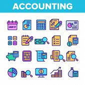 Color Accounting Elements Vector Icons Set Thin Line. Magnifier With Money Bank Note And Report Or R poster
