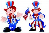 stock photo of uncle  - Beautiful Design Art of Set of Happy Uncle Sam Vector Illustration - JPG