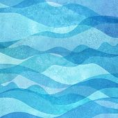 Watercolor Transparent Sea Ocean Wave Blue Teal Turquoise Colored Background. Watercolour Hand Paint poster