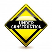 Yellow and black under construction website icon with shadow