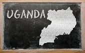 Outline Map Of Uganda On Blackboard