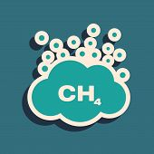 Green Methane Emissions Reduction Icon Isolated On Blue Background. Ch4 Molecule Model And Chemical  poster