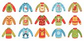 Cartoon Christmas Ugly Sweaters. Xmas Holidays Party Jumper, Knitted Winter Sweater With Santa And X poster