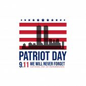911 Patriot Day Background Patriot Day September Vector Image poster