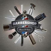 Poster For Printing. Inscription On Background Tools Barber. Barber Tool Kit. Hair Styling Product.  poster