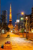 Tokyo Tower at dusk with Tokyo skyline city scape in monato ward. Tokyo Tower is famous landmark hei poster