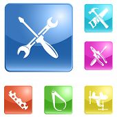 Set of internet buttons with icons (tool). Vector illustration.