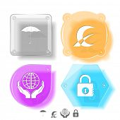 Business icon set. Protection world, closed lock, abstract monetary sign, umbrella.  Glass buttons. Vector illustration. Eps10.
