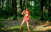 Wild Woman In Forest. Forest Fairy. Living Wild Life Untouched Nature. Sexy Girl Early Stage In The  poster