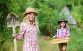 Girls With Gardening Tools. Summer At Countryside. Sisters Helping At Backyard. Gardening Basics. Ch poster