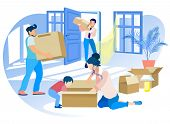 Happy Family Moving Into New House. Mother And Little Son Unpacking Cardboard Box, Dad And Worker Ca poster