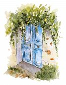 Watercolor Sketch Of Old Shabby Wooden Blue Door With Greenery. Hand Painted Element Isolated On Whi poster