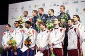 KIEV, UKRAINE - APRIL 14, 2012: All winners of World Fencing Championship in men's epee on April 14,