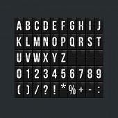 Flipboard Style Alphabet Vector Illustration. Airport Terminal, Arrival Board With Letters And Numbe poster
