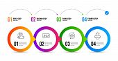 Dj Controller, Clapping Hands And Refresh Cart Line Icons Set. Timeline Infographic. Winner Podium S poster