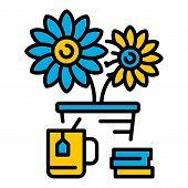 Desktop Flower Pot Icon. Outline Desktop Flower Pot Vector Icon For Web Design Isolated On White Bac poster