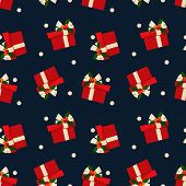 Christmas Elements Seamless Pattern Of Gift Box With Holly Berries On Ribbon And Snowflakes  For Gre poster
