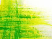 foto of paint brush  - Green and Yellow Brush Strokes 1 - JPG