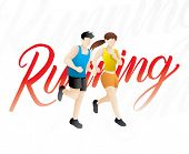 Jogging People,runners Group, People Runner Race. Training To Marathon, Jogging And Running Illustra poster